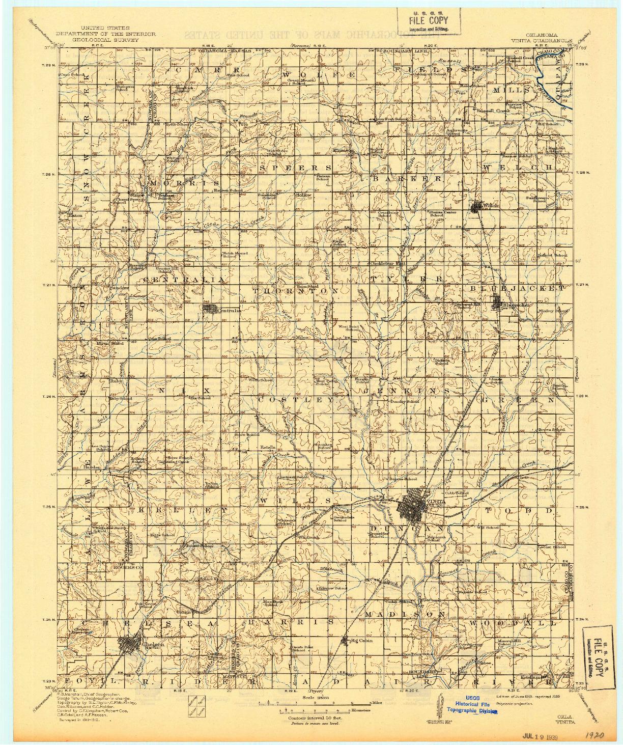 USGS 1:125000-SCALE QUADRANGLE FOR VINITA, OK 1913
