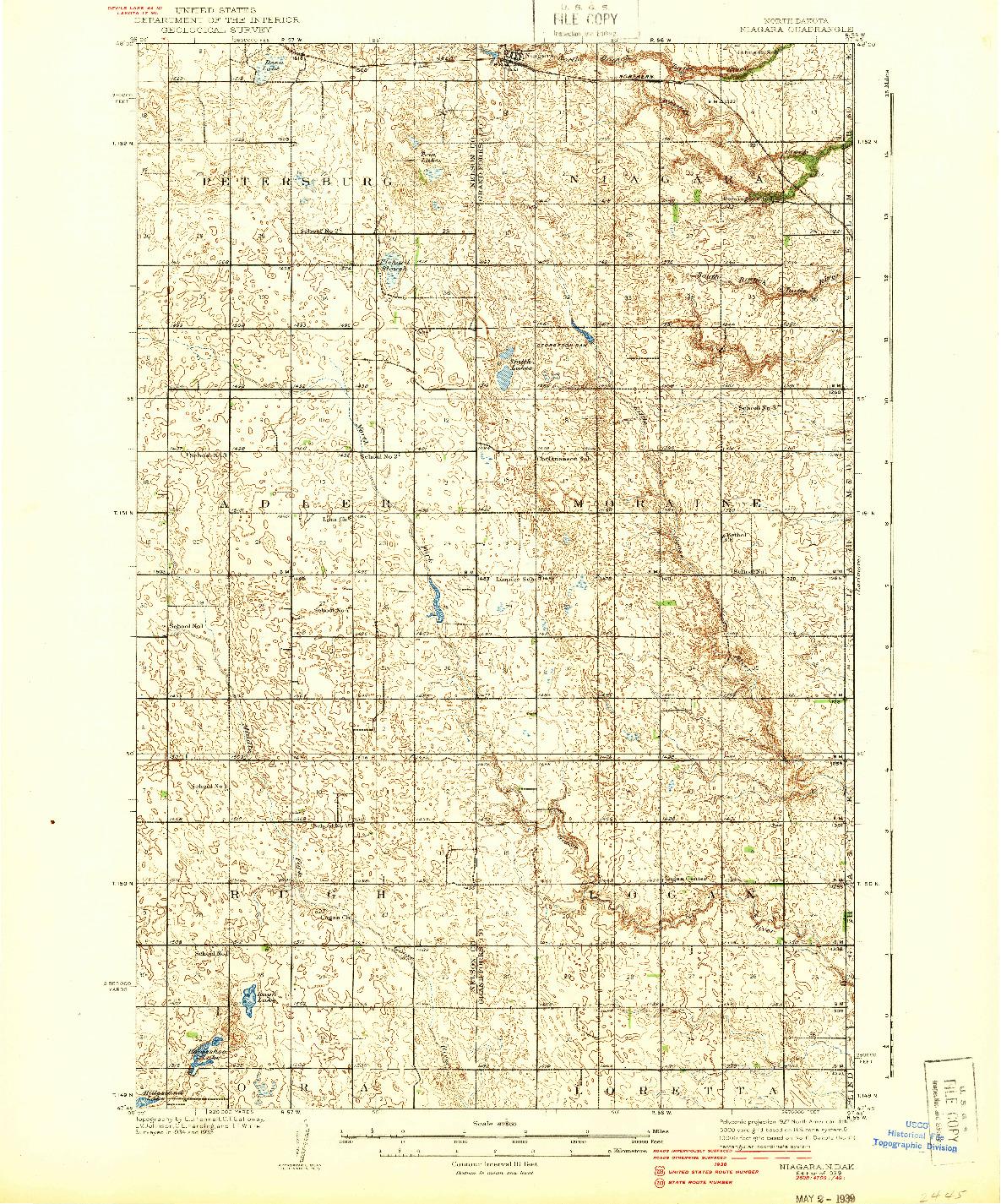 USGS 1:62500-SCALE QUADRANGLE FOR NIAGARA, ND 1939