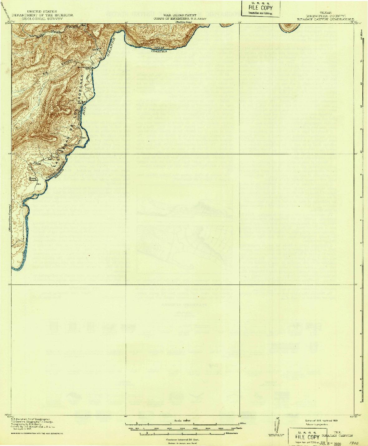 USGS 1:62500-SCALE QUADRANGLE FOR REAGAN CANYON, TX 1918