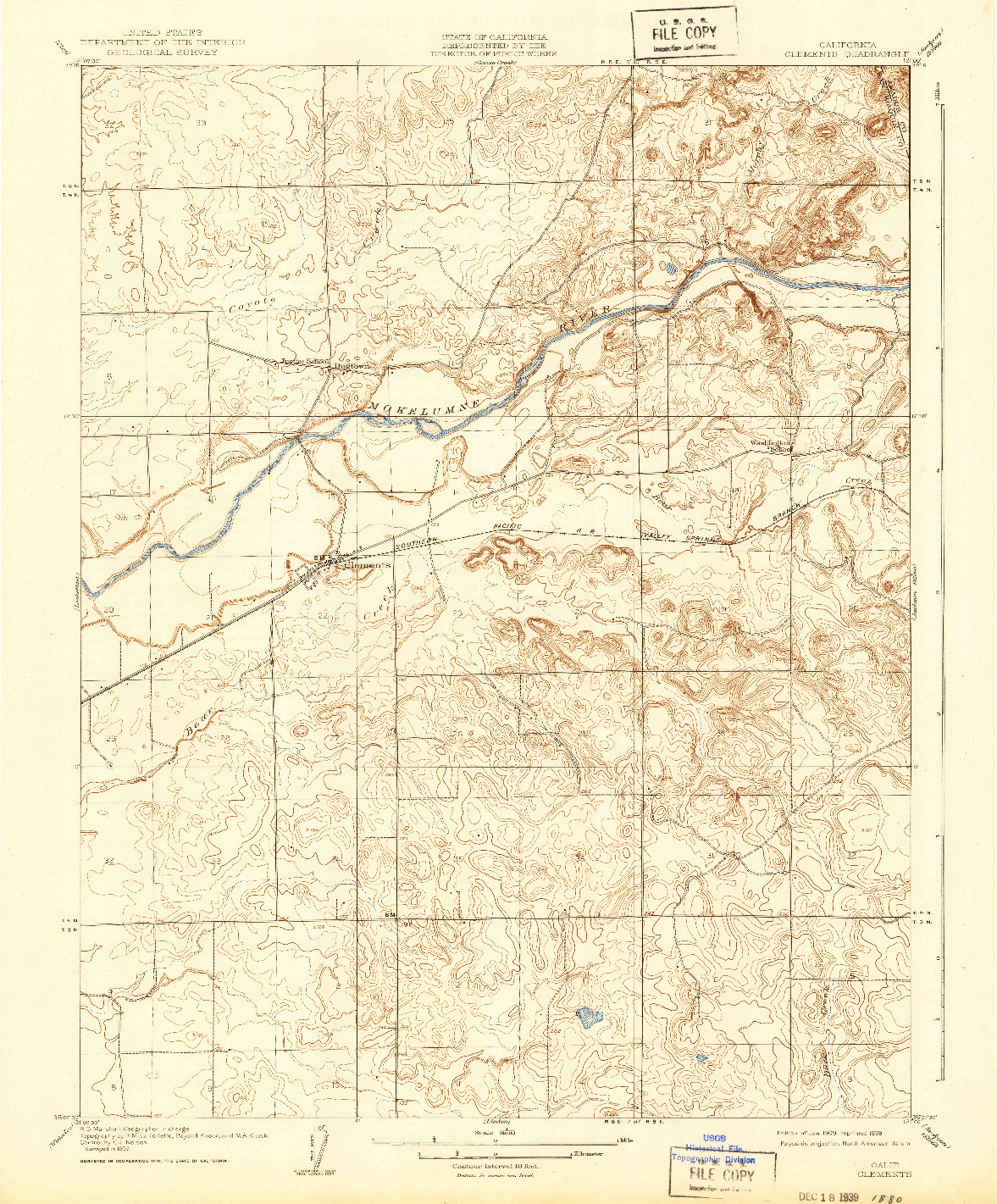 USGS 1:31680-SCALE QUADRANGLE FOR CLEMENTS, CA 1909