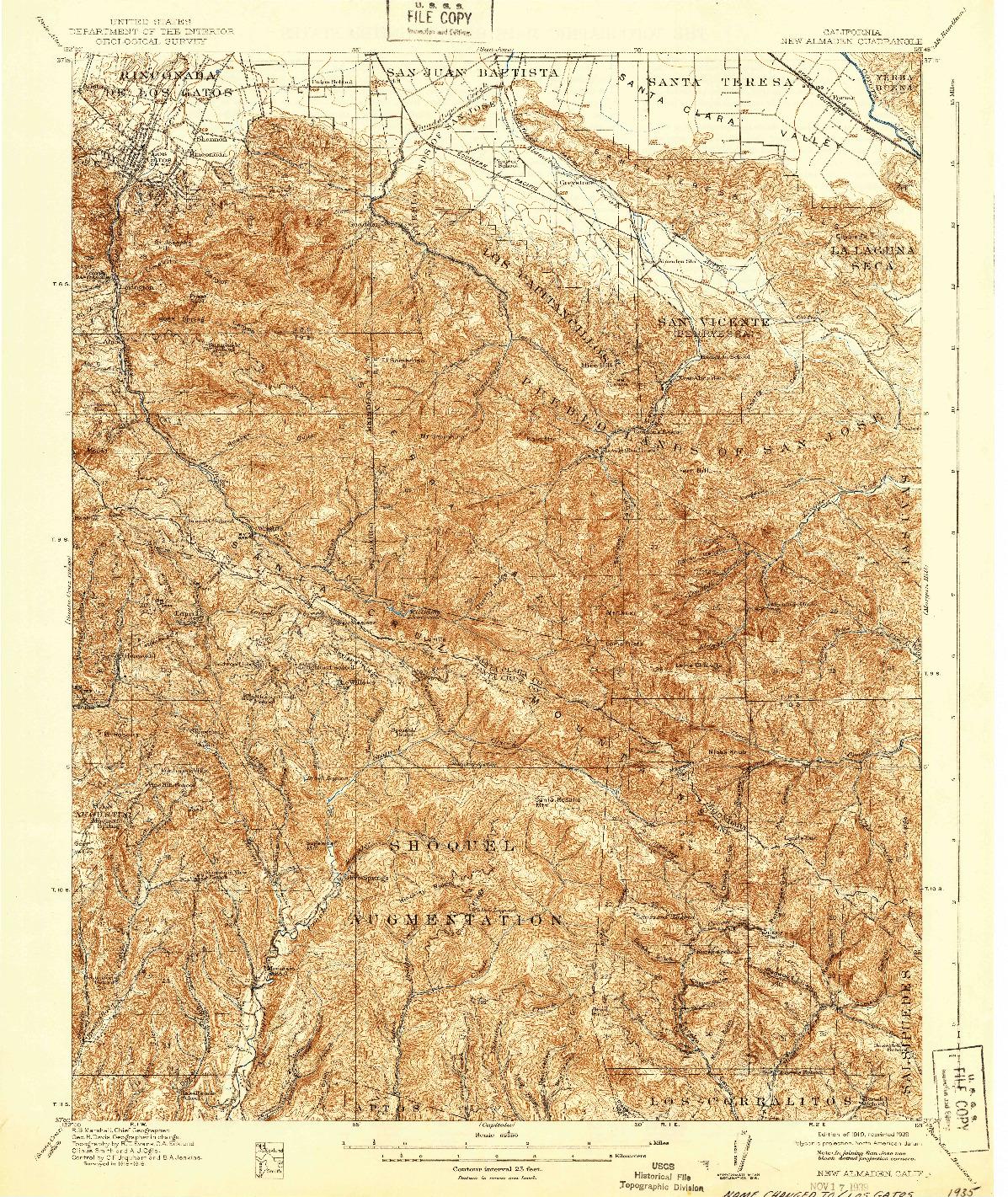 USGS 1:62500-SCALE QUADRANGLE FOR NEW ALMADEN, CA 1919
