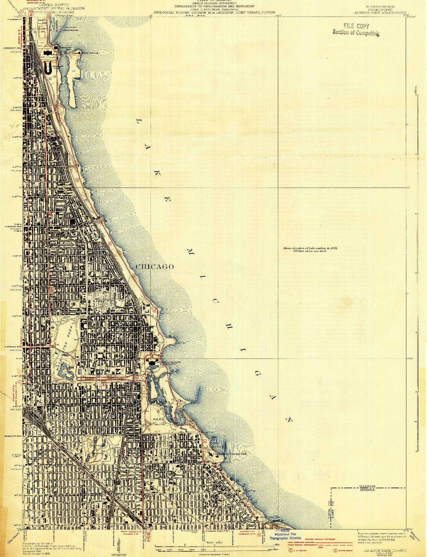 USGS 1:24000-SCALE QUADRANGLE FOR JACKSON PARK, IL 1929