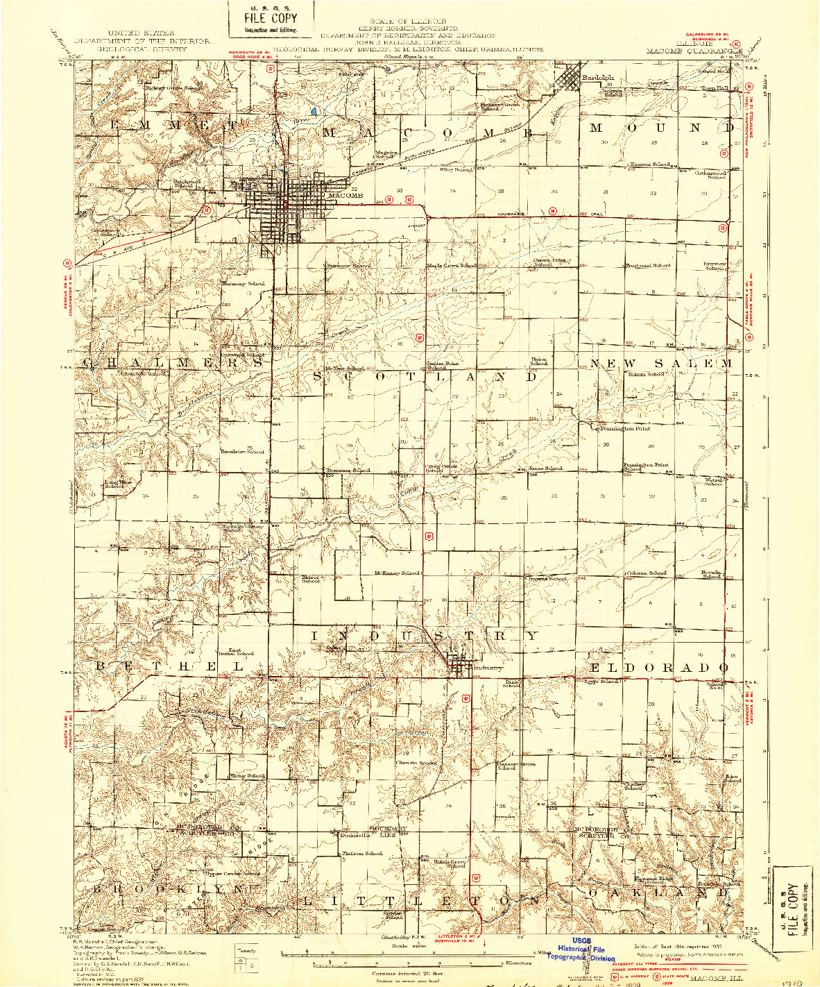 USGS 1:62500-SCALE QUADRANGLE FOR MACOMB, IL 1914