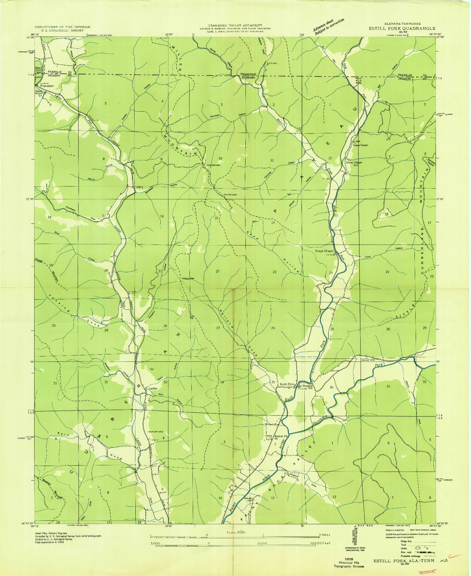 USGS 1:24000-SCALE QUADRANGLE FOR ESTILL FORK, AL 1939