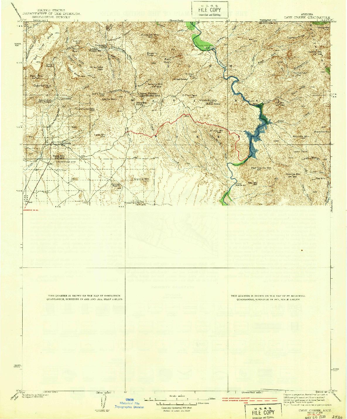 USGS 1:125000-SCALE QUADRANGLE FOR CAVE CREEK, AZ 1939