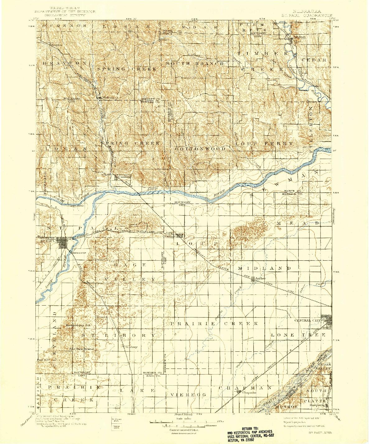 USGS 1:125000-SCALE QUADRANGLE FOR ST. PAUL, NE 1899