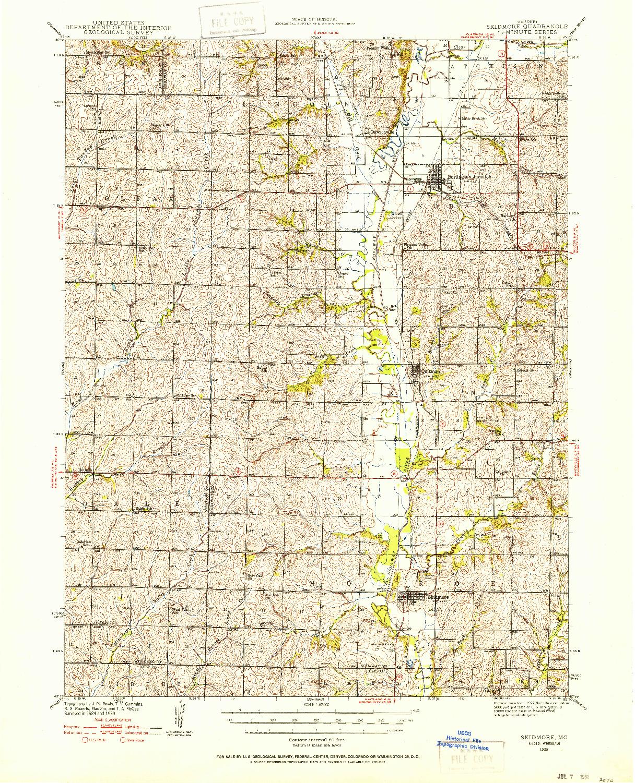 USGS 1:62500-SCALE QUADRANGLE FOR SKIDMORE, MO 1939