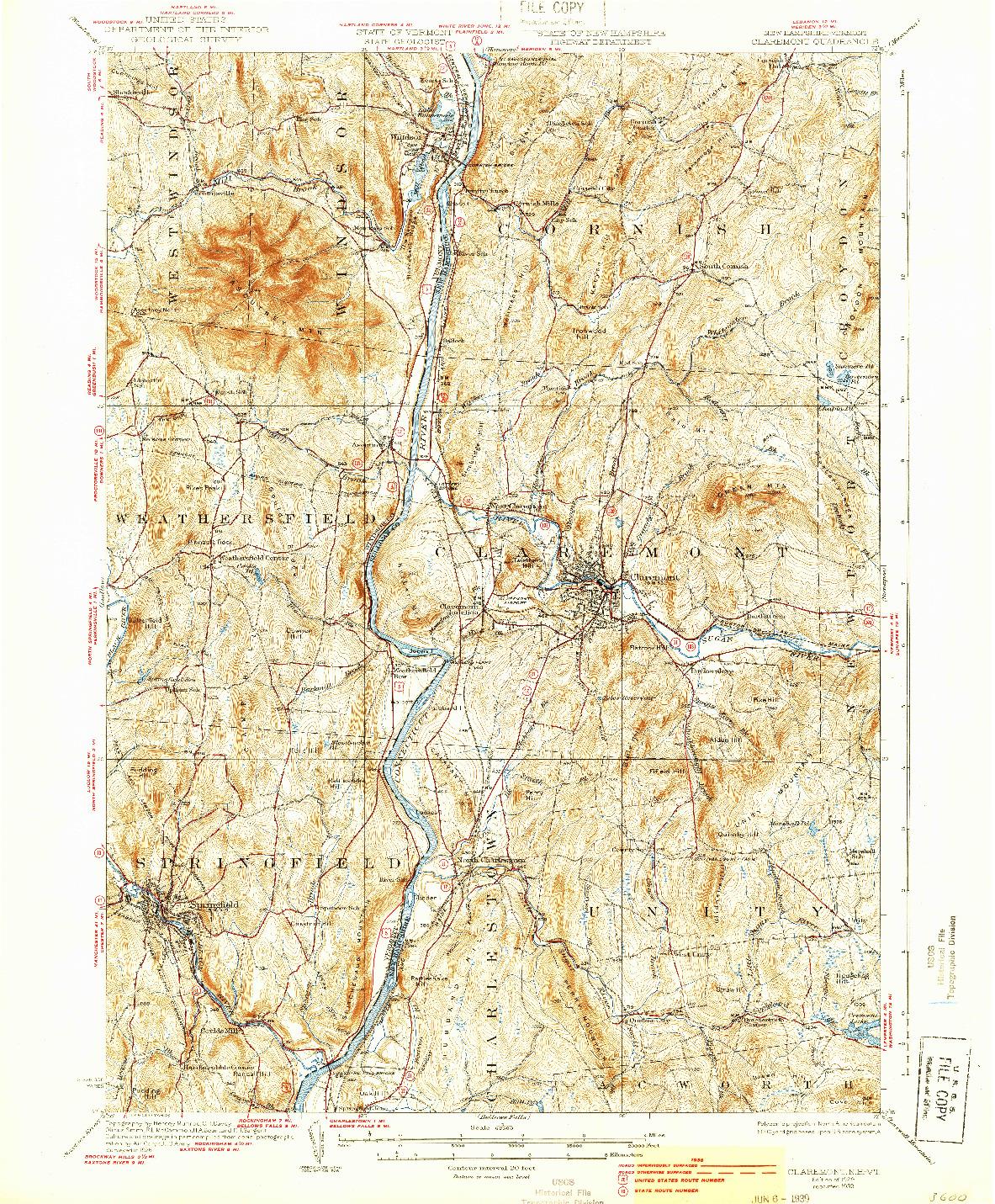 USGS 1:62500-SCALE QUADRANGLE FOR CLAREMONT, NH 1929