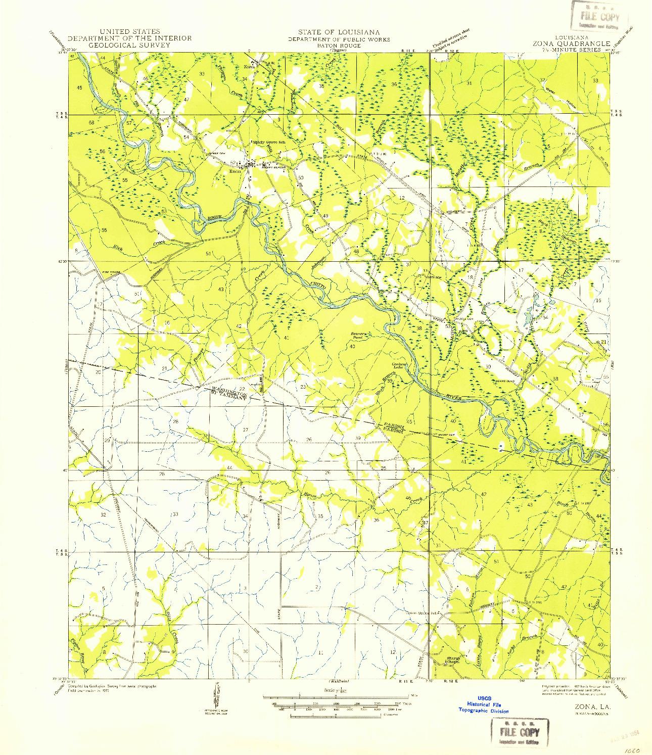 USGS 1:31680-SCALE QUADRANGLE FOR ZONA, LA 1939