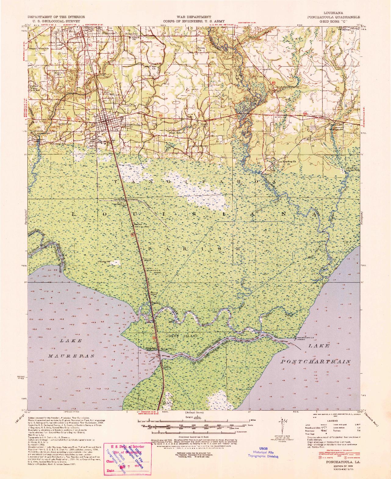 USGS 1:62500-SCALE QUADRANGLE FOR PONCHATOULA, LA 1939