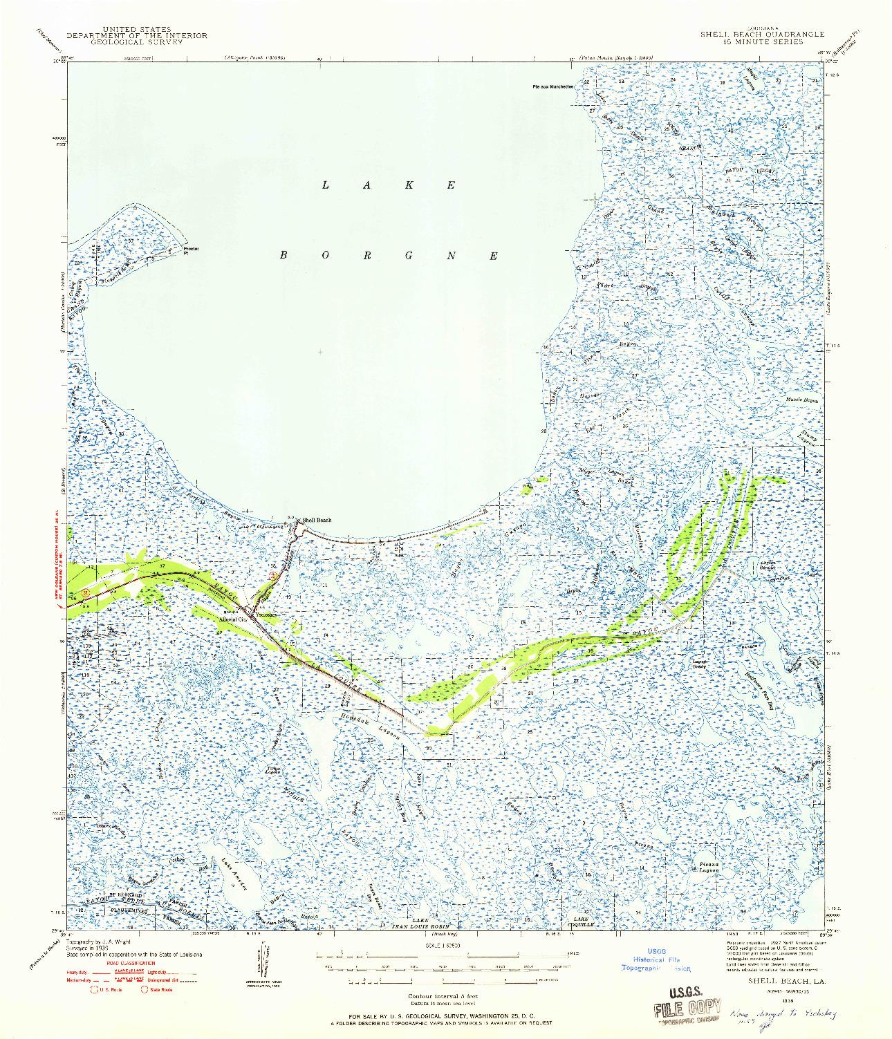 USGS 1:62500-SCALE QUADRANGLE FOR SHELL BEACH, LA 1939