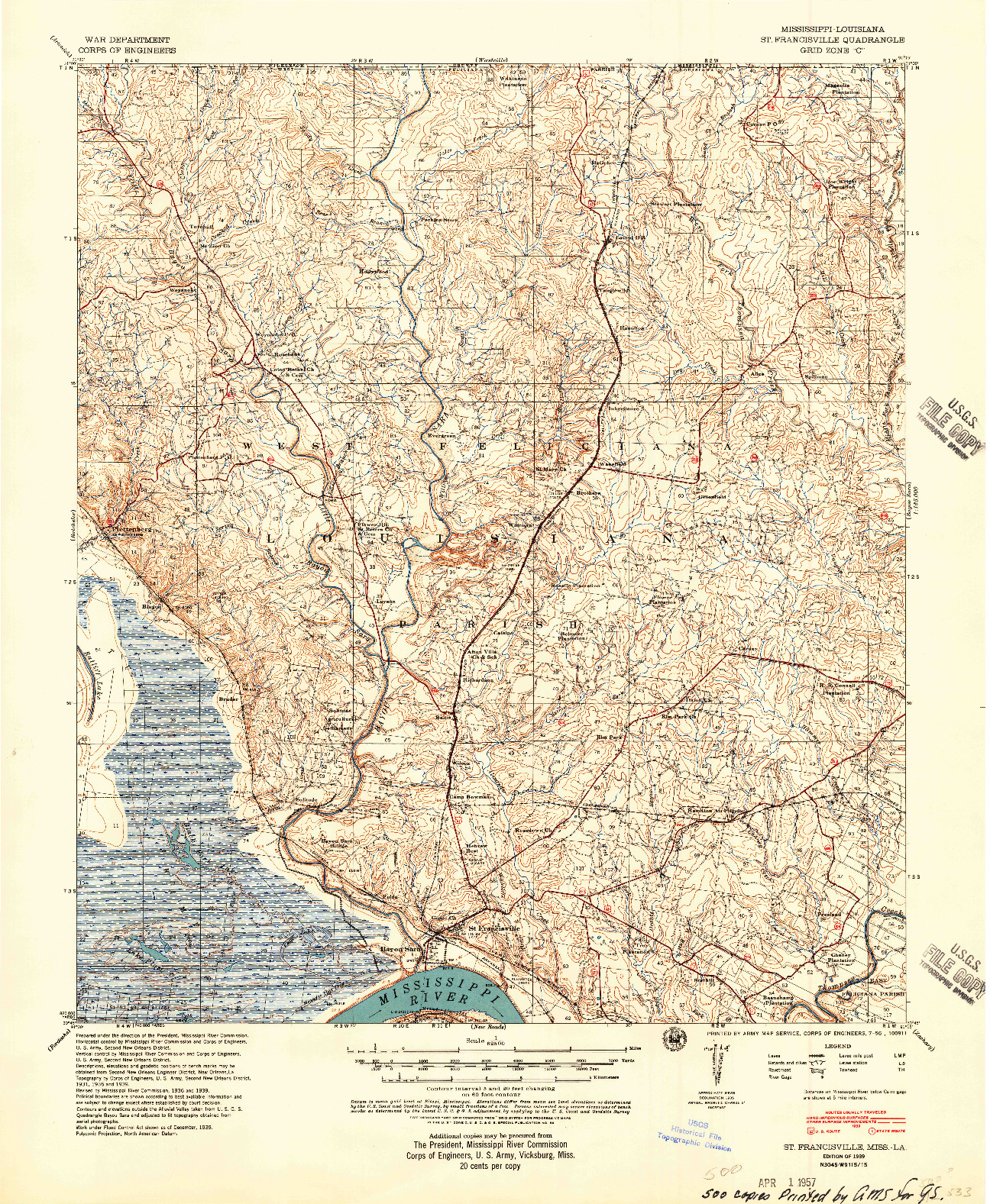 USGS 1:62500-SCALE QUADRANGLE FOR ST. FRANCISVILLE, MS 1939