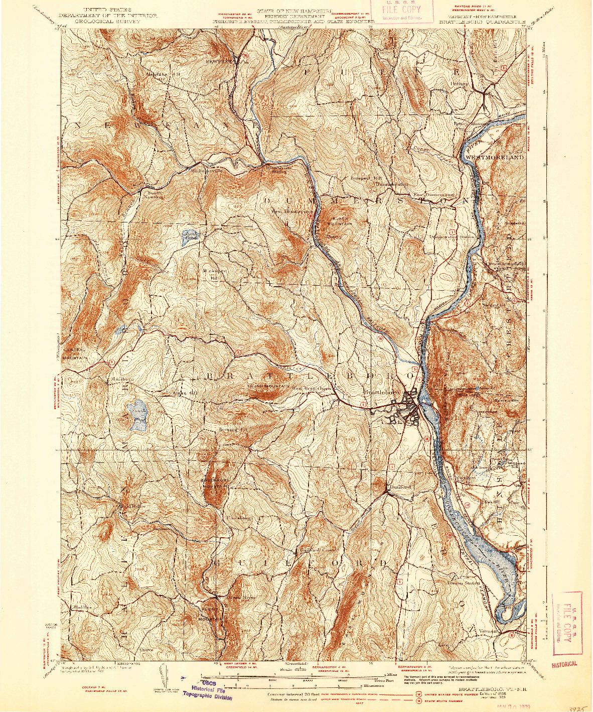USGS 1:62500-SCALE QUADRANGLE FOR BRATTLEBORO, VT 1935