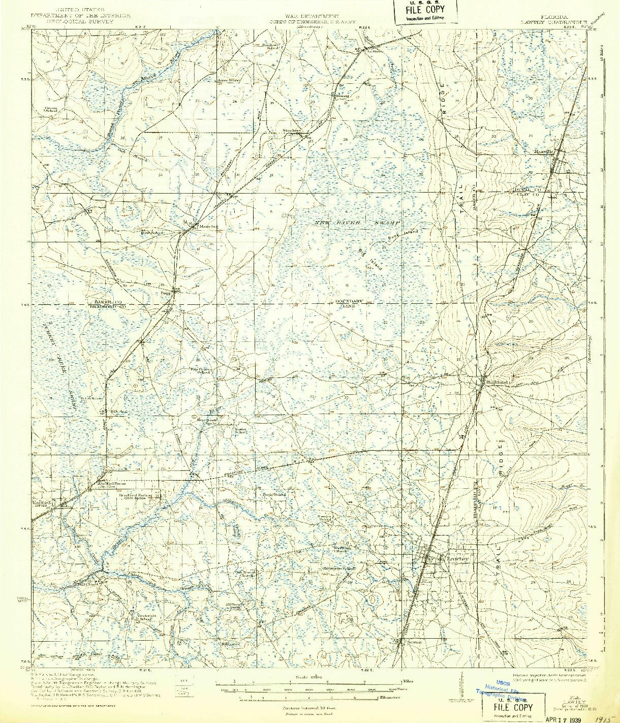 USGS 1:62500-SCALE QUADRANGLE FOR LAWTEY, FL 1918