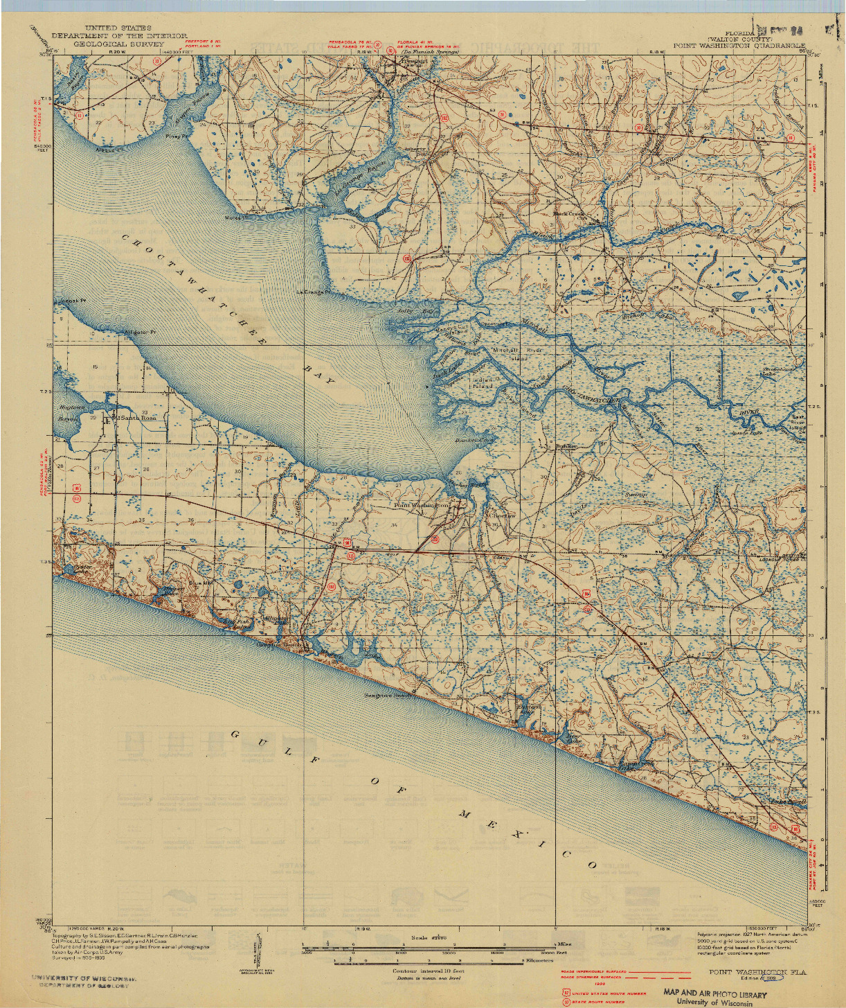 USGS 1:62500-SCALE QUADRANGLE FOR POINT WASHINGTON, FL 1939