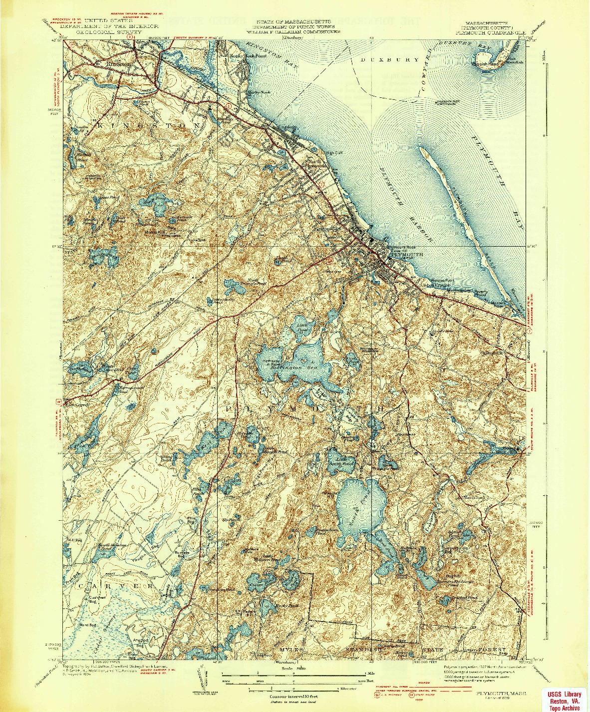 USGS 1:31680-SCALE QUADRANGLE FOR PLYMOUTH, MA 1939