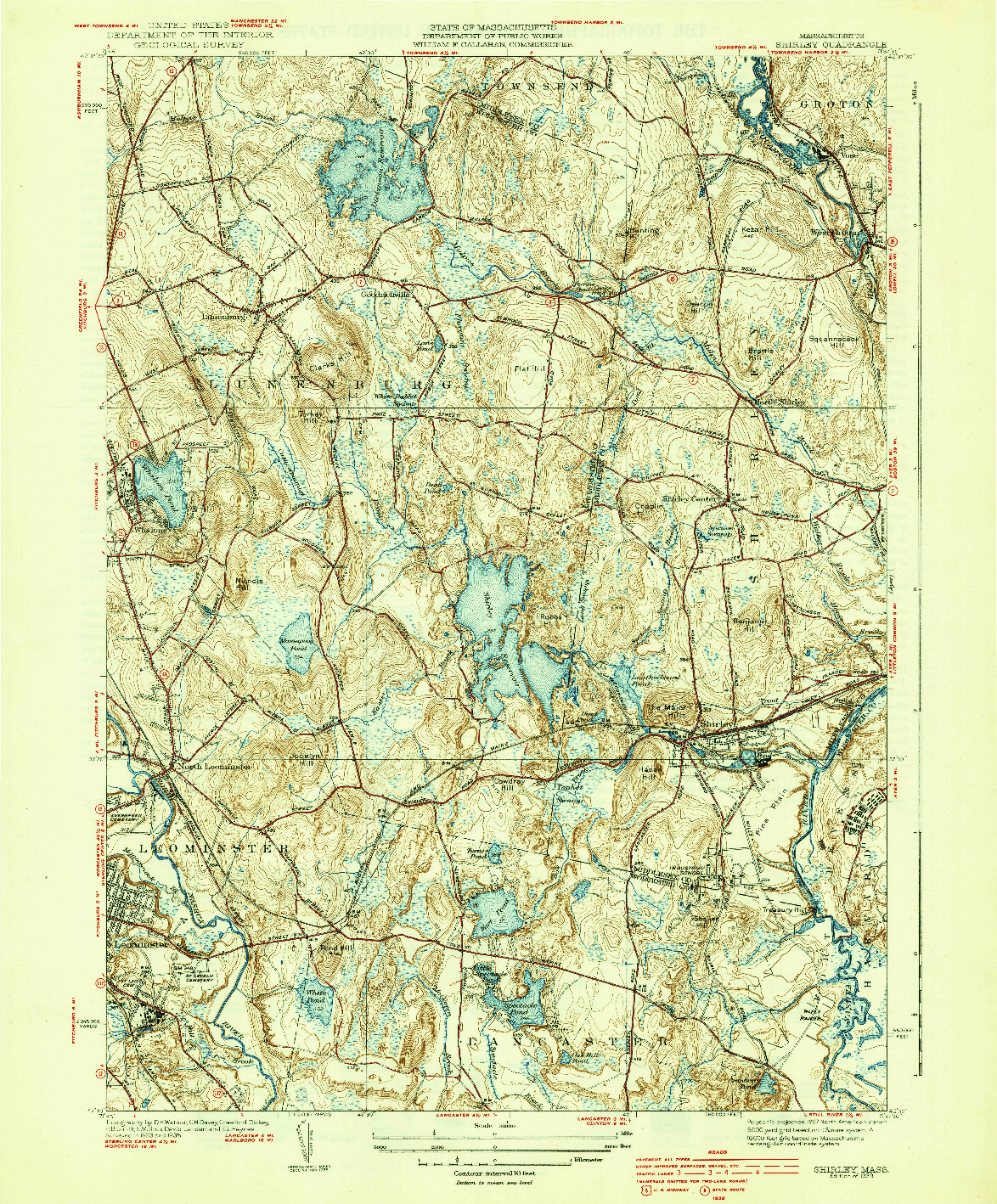 USGS 1:31680-SCALE QUADRANGLE FOR SHIRLEY, MA 1939