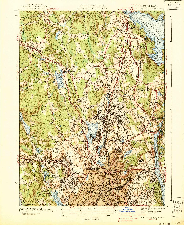 USGS 1:31680-SCALE QUADRANGLE FOR WORCESTER NORTH, MA 1939