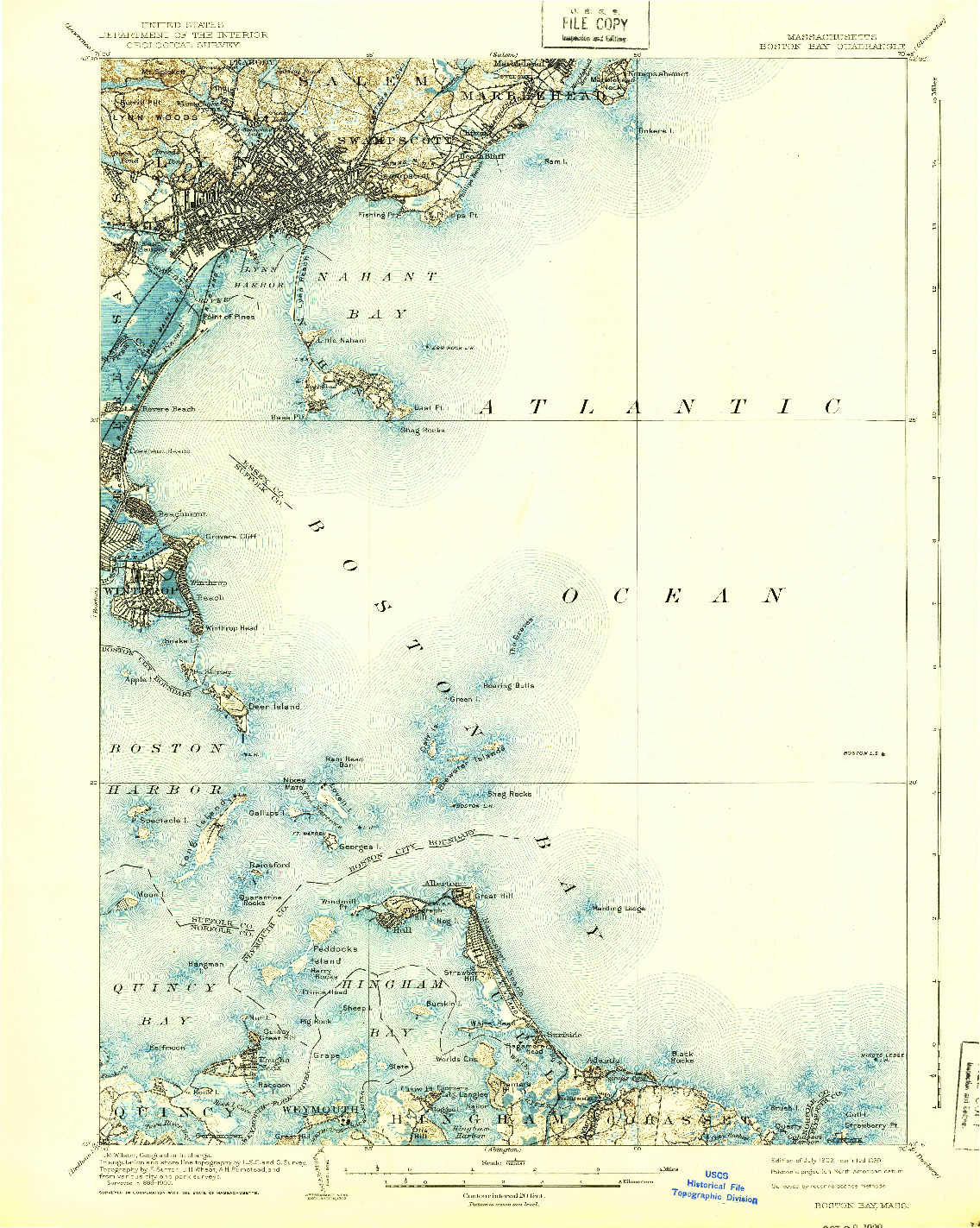USGS 1:62500-SCALE QUADRANGLE FOR BOSTON BAY, MA 1903