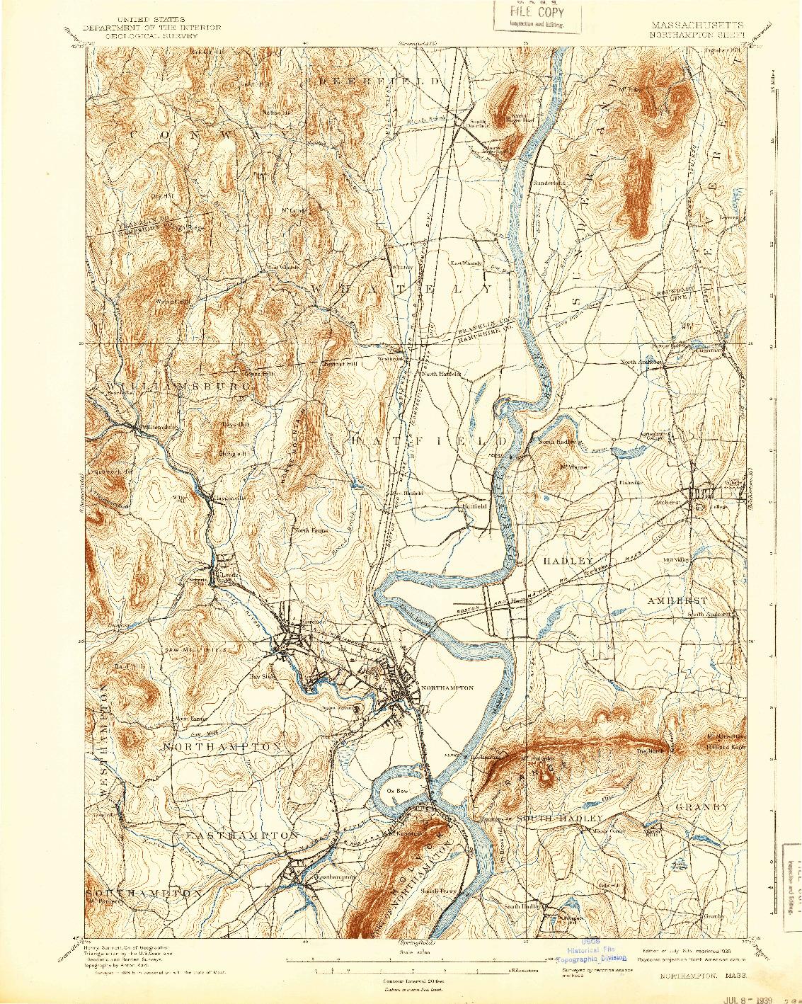 USGS 1:62500-SCALE QUADRANGLE FOR NORTHAMPTON, MA 1895