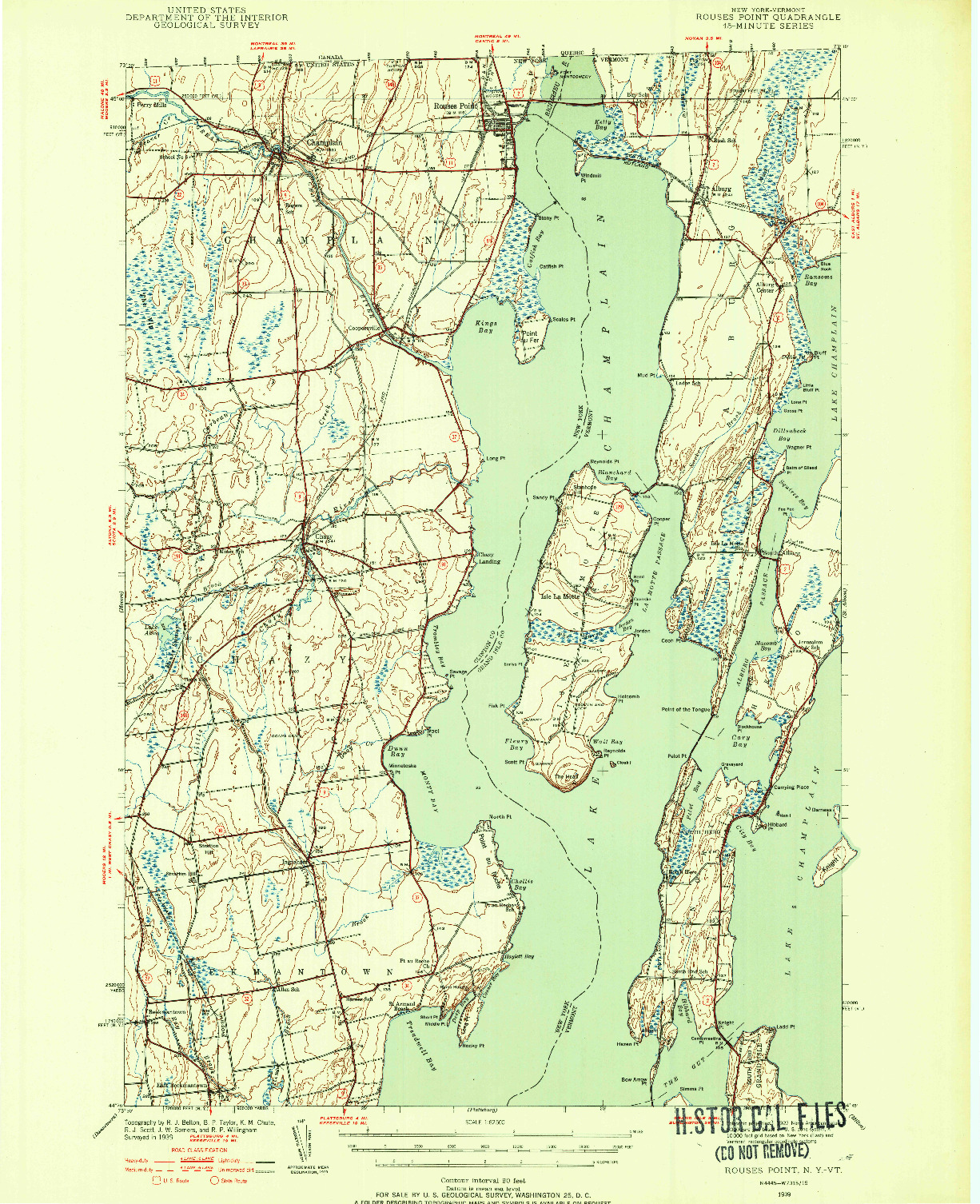 USGS 1:62500-SCALE QUADRANGLE FOR ROUSES POINT, NY 1939