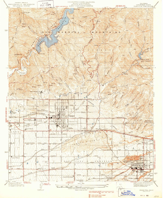 USGS 1:24000-SCALE QUADRANGLE FOR GLENDORA, CA 1939