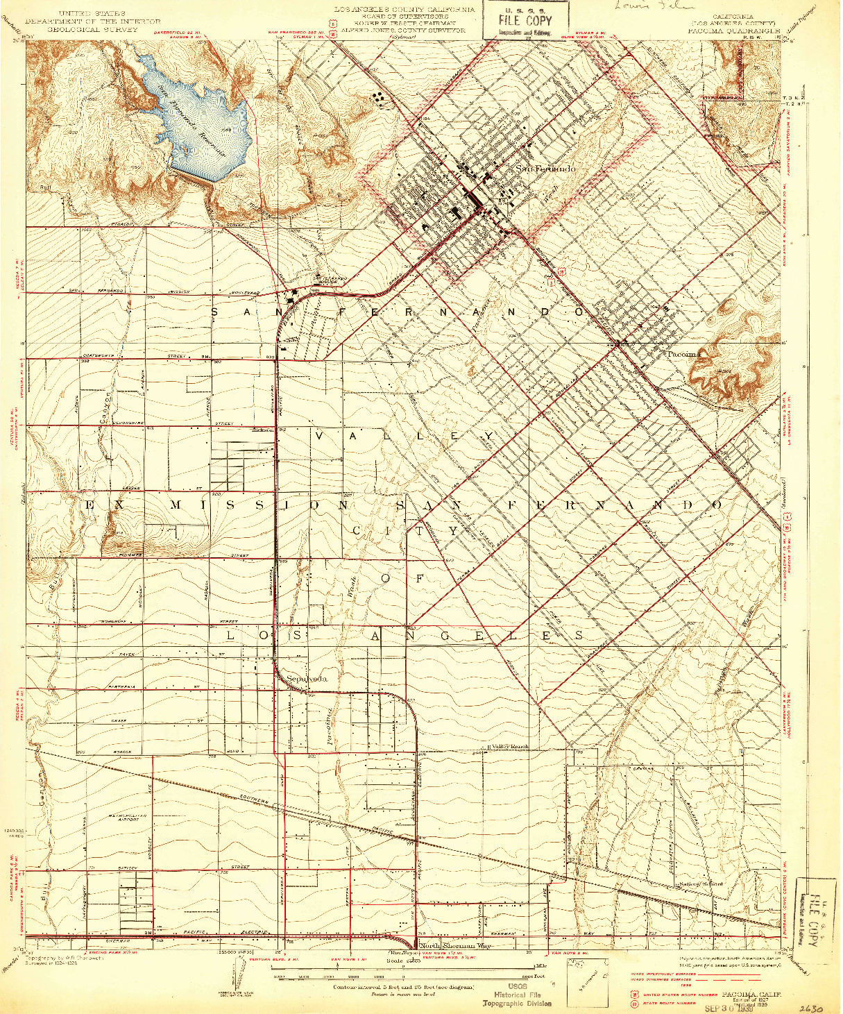 USGS 1:24000-SCALE QUADRANGLE FOR PACOIMA, CA 1927