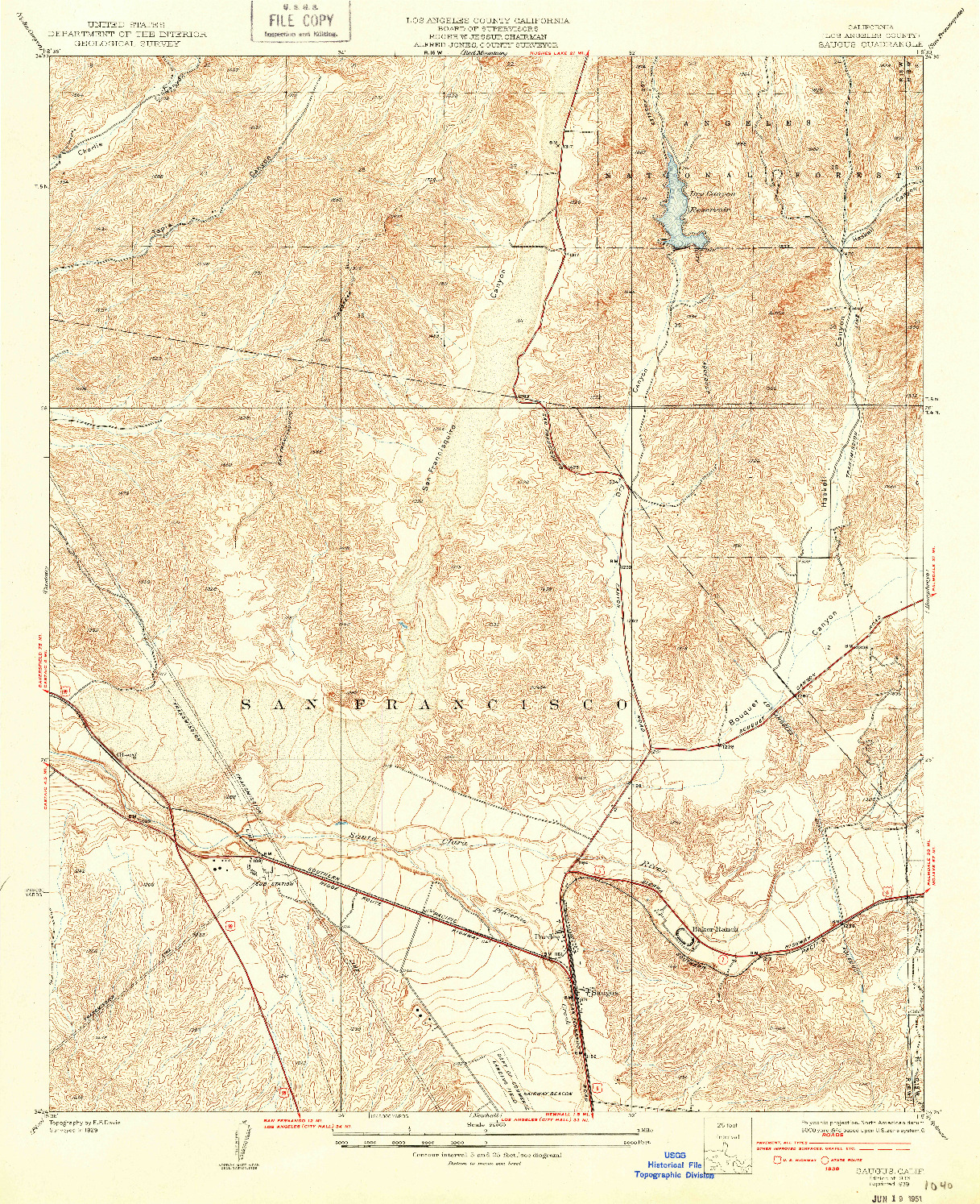 USGS 1:24000-SCALE QUADRANGLE FOR SAUGUS, CA 1933