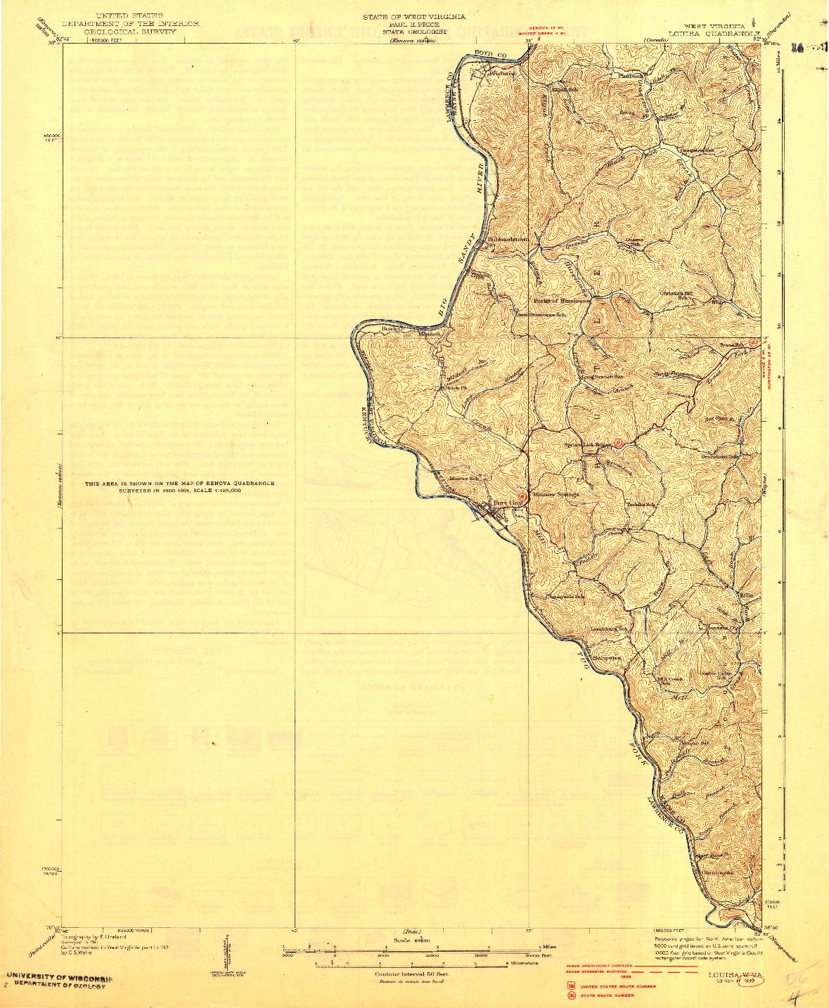 USGS 1:62500-SCALE QUADRANGLE FOR LOUISA, WV 1939
