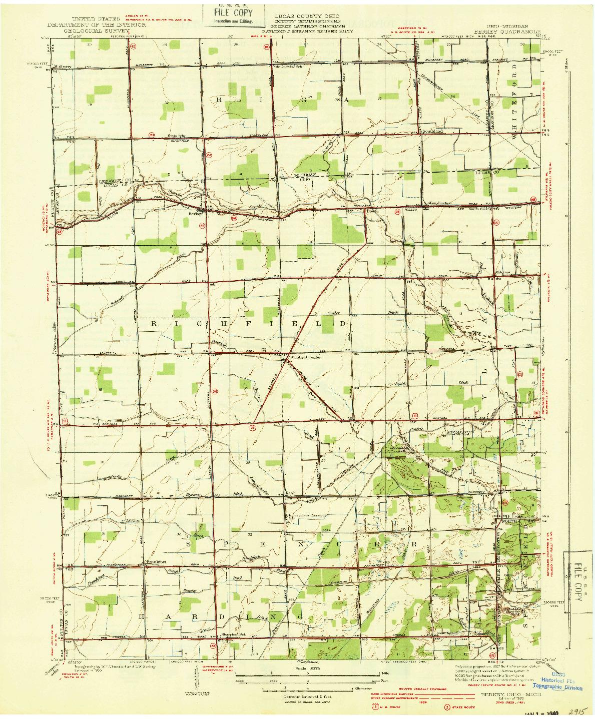 USGS 1:31680-SCALE QUADRANGLE FOR BERKEY, OH 1939