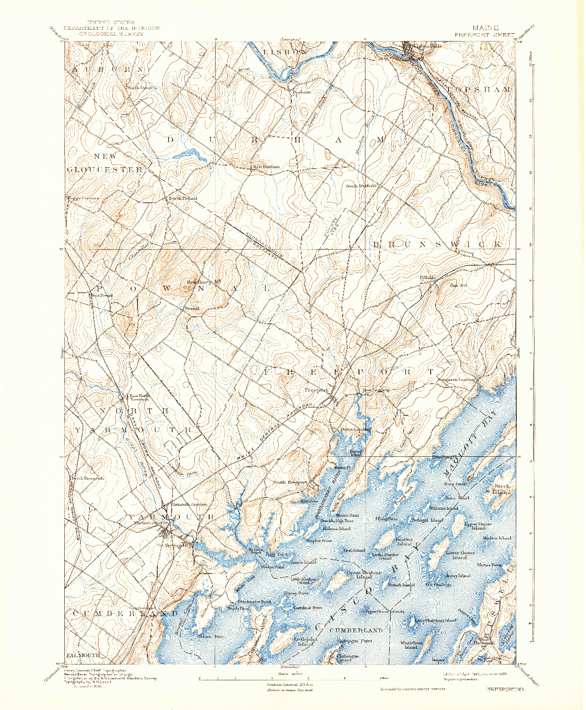 USGS 1:62500-SCALE QUADRANGLE FOR FREEPORT, ME 1892