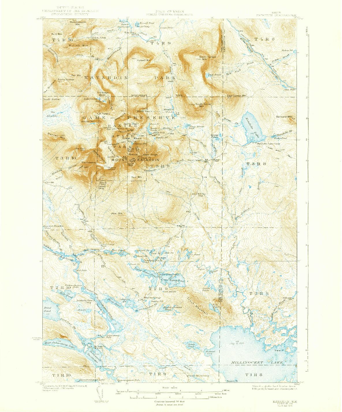 USGS 1:62500-SCALE QUADRANGLE FOR KATAHDIN, ME 1930