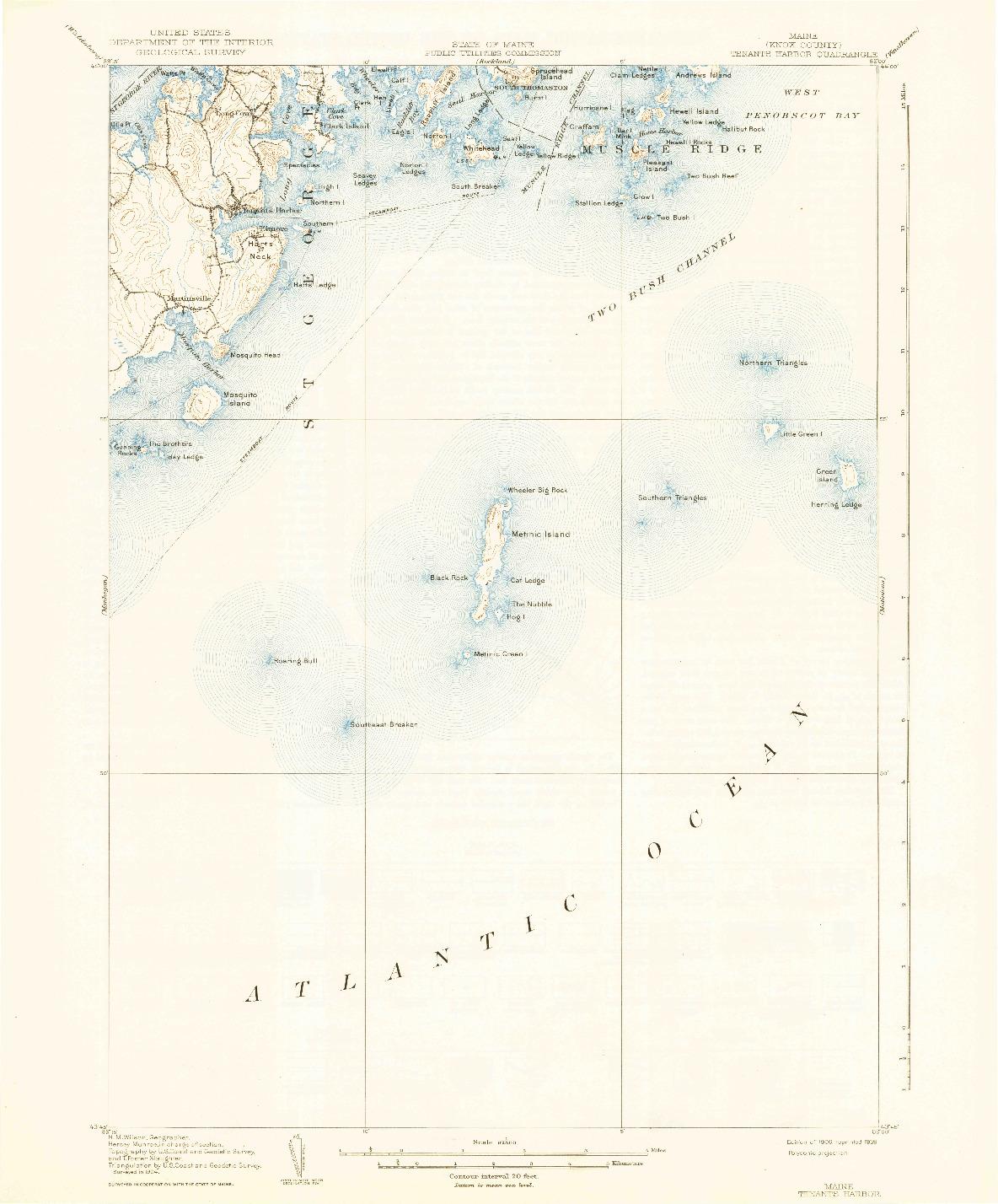 USGS 1:62500-SCALE QUADRANGLE FOR TENANTS HARBOR, ME 1906