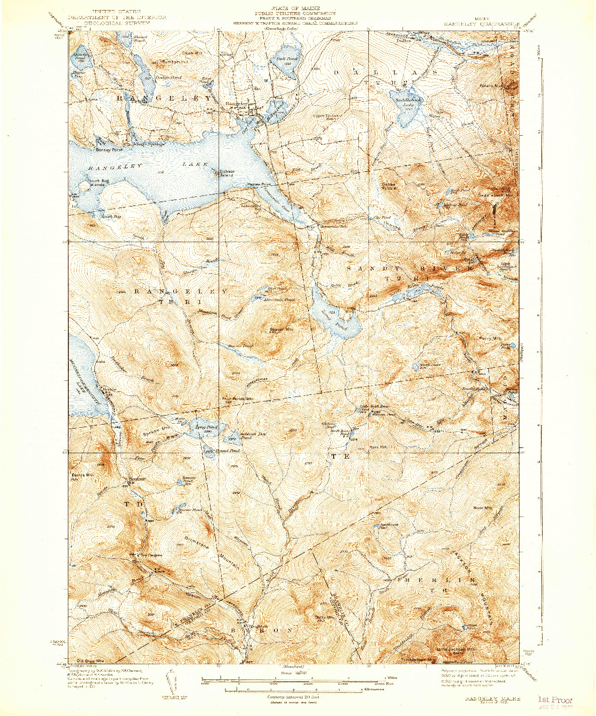 USGS 1:62500-SCALE QUADRANGLE FOR RANGELEY, ME 1939