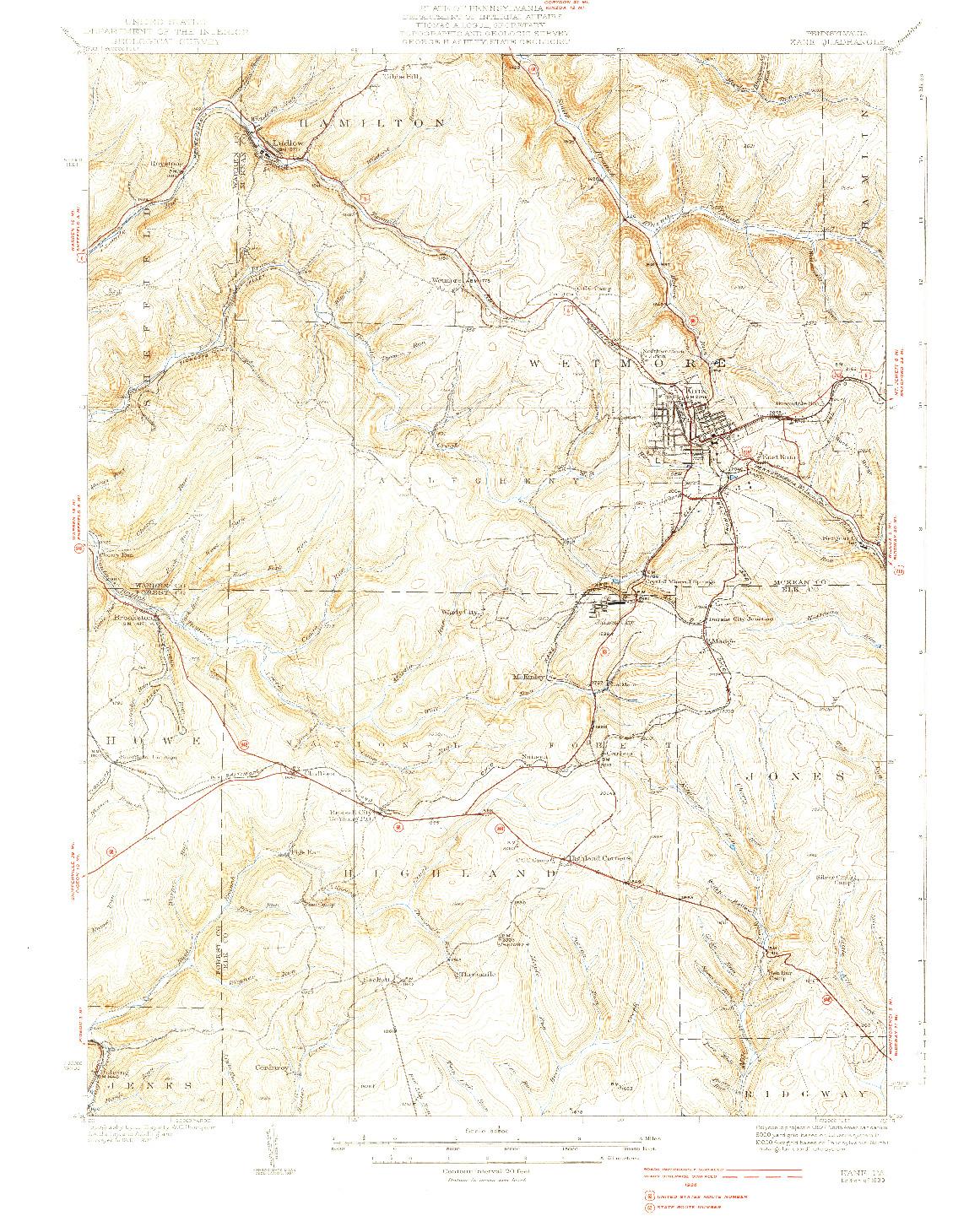 USGS 1:62500-SCALE QUADRANGLE FOR KANE, PA 1939