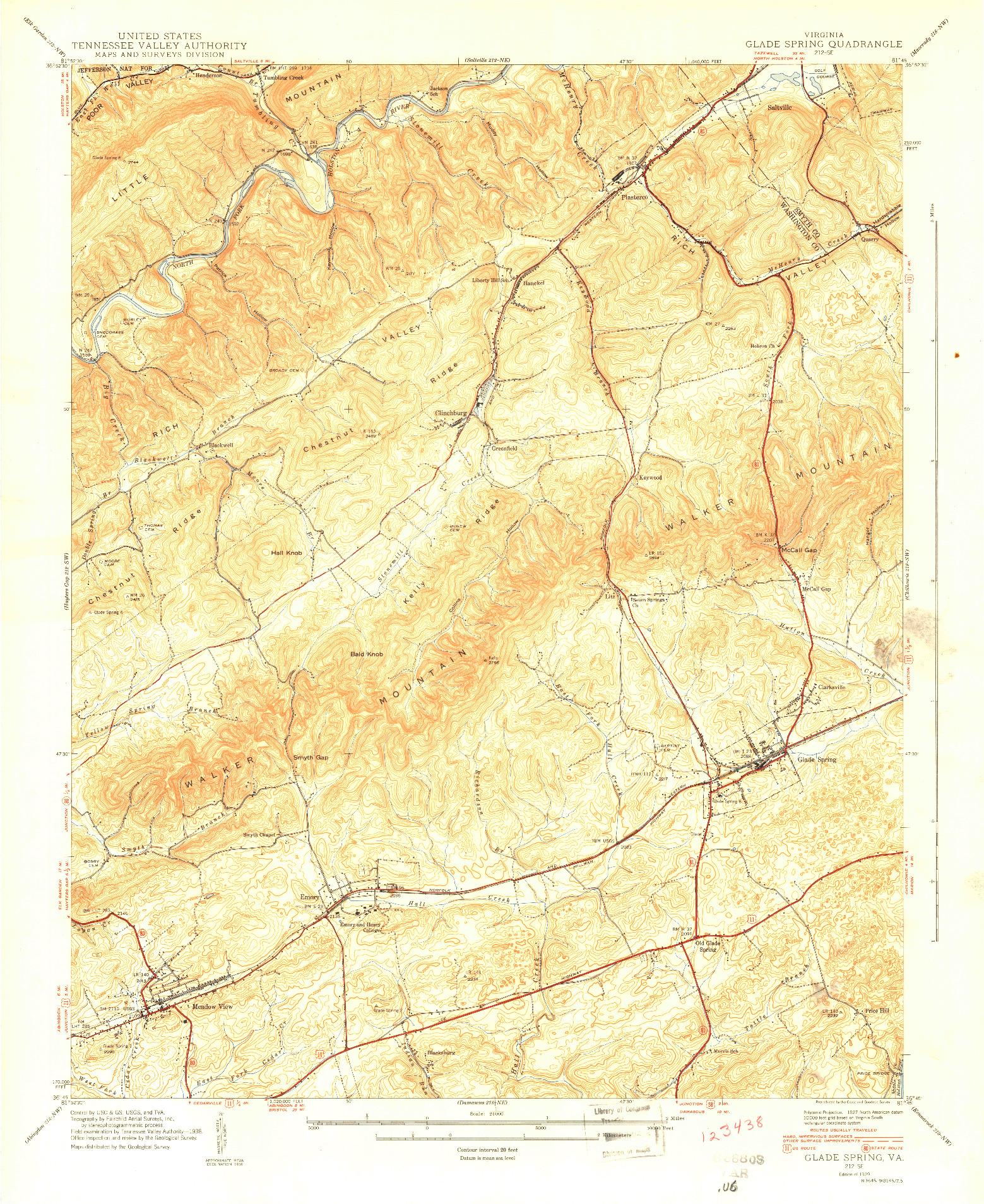 USGS 1:24000-SCALE QUADRANGLE FOR GLADE SPRING, VA 1939