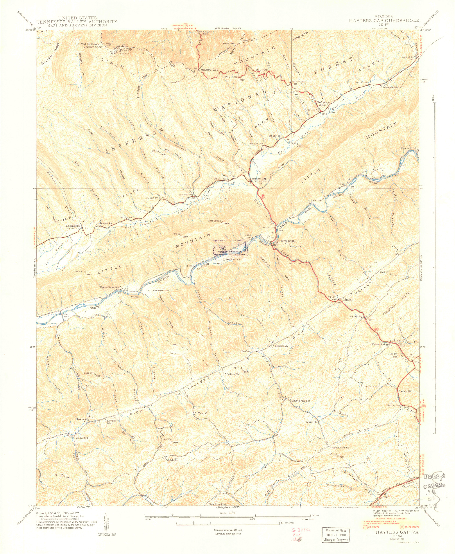 USGS 1:24000-SCALE QUADRANGLE FOR HAYTERS GAP, VA 1939