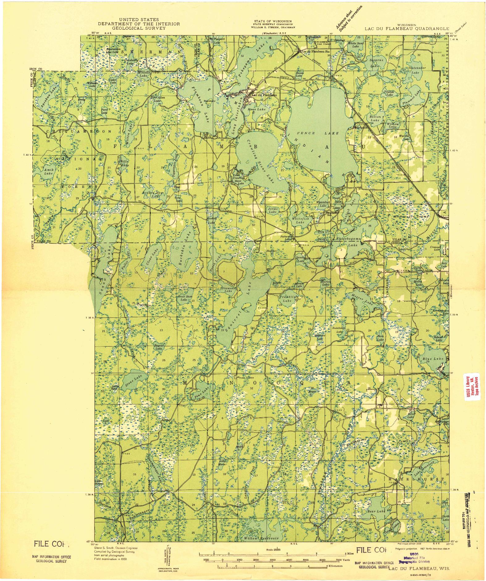 USGS 1:48000-SCALE QUADRANGLE FOR LAC DU FLAMBEAU, WI 1939