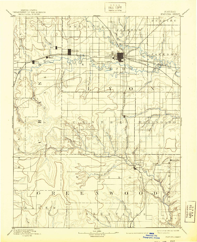 USGS 1:125000-SCALE QUADRANGLE FOR EMPORIA, KS 1894