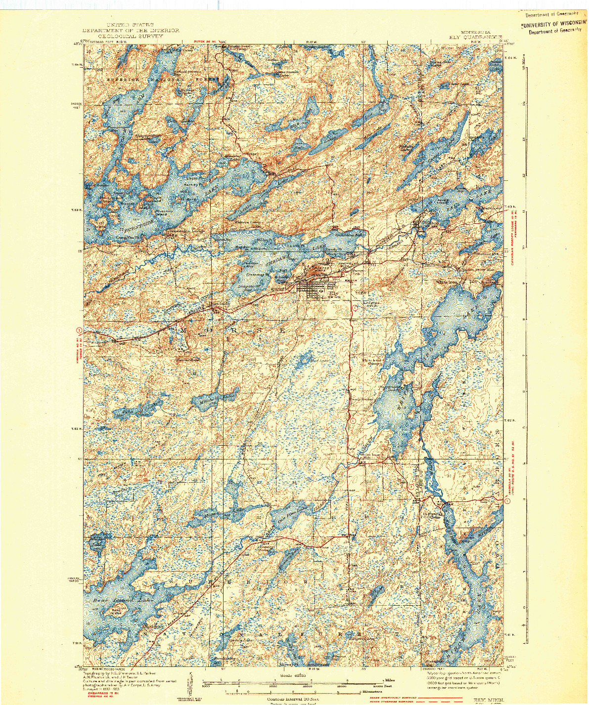 USGS 1:62500-SCALE QUADRANGLE FOR ELY, MN 1939