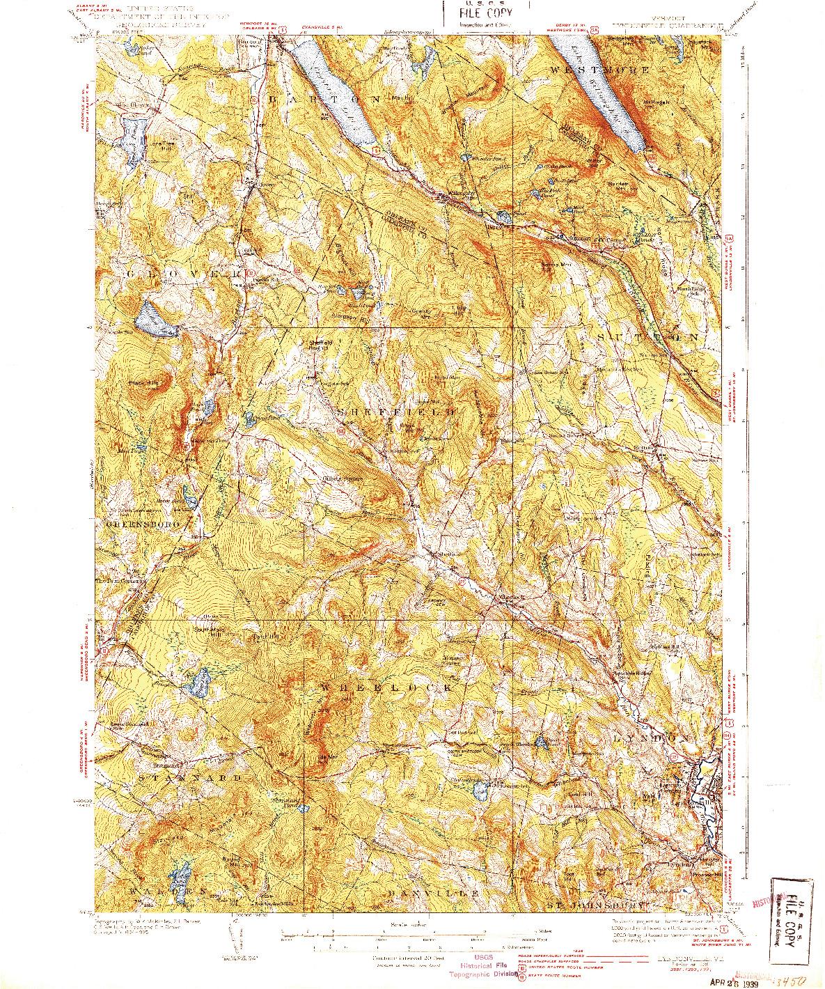 USGS 1:62500-SCALE QUADRANGLE FOR LYNDONVILLE, VT 1939