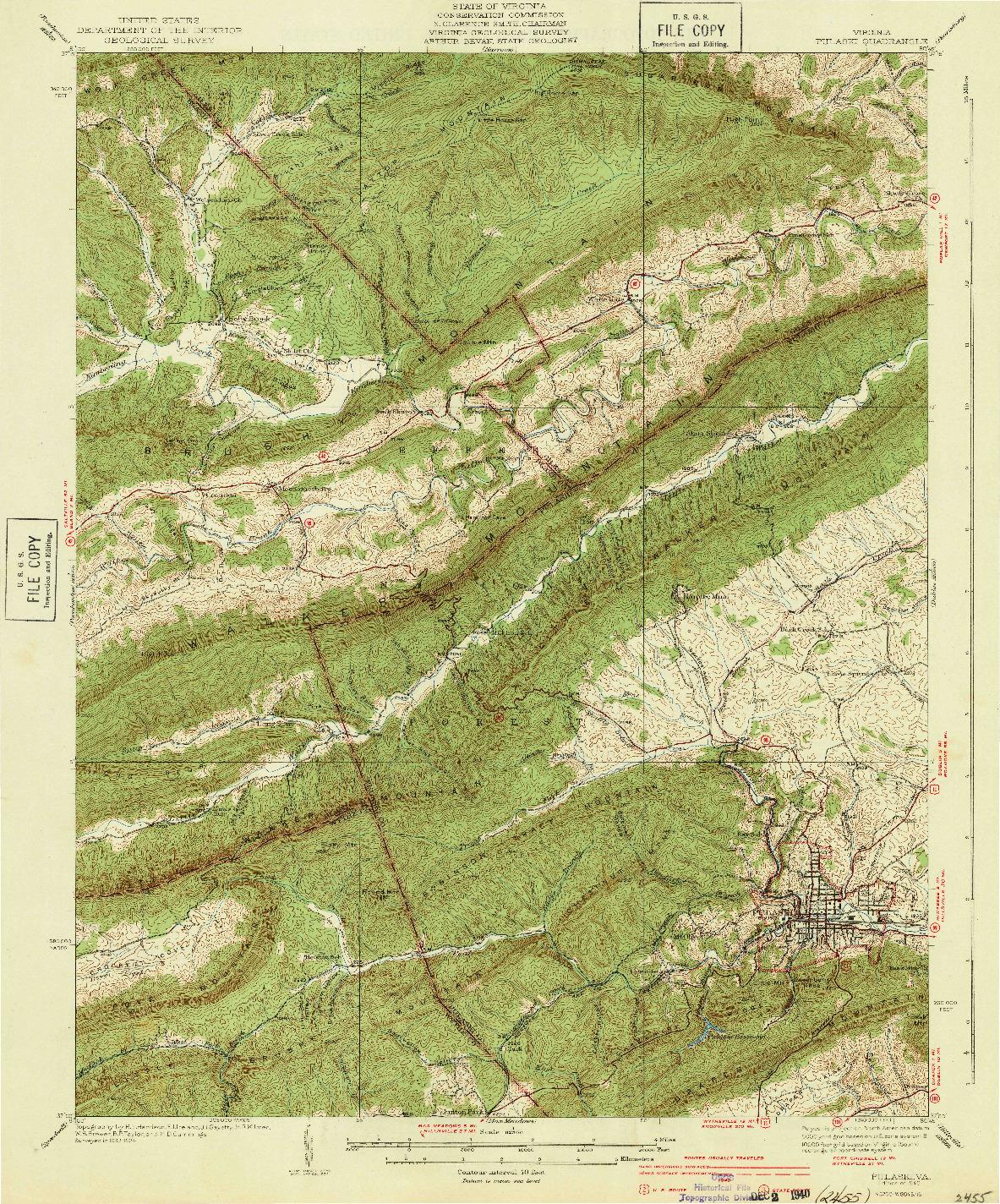 USGS 1:62500-SCALE QUADRANGLE FOR PULASKI, VA 1940