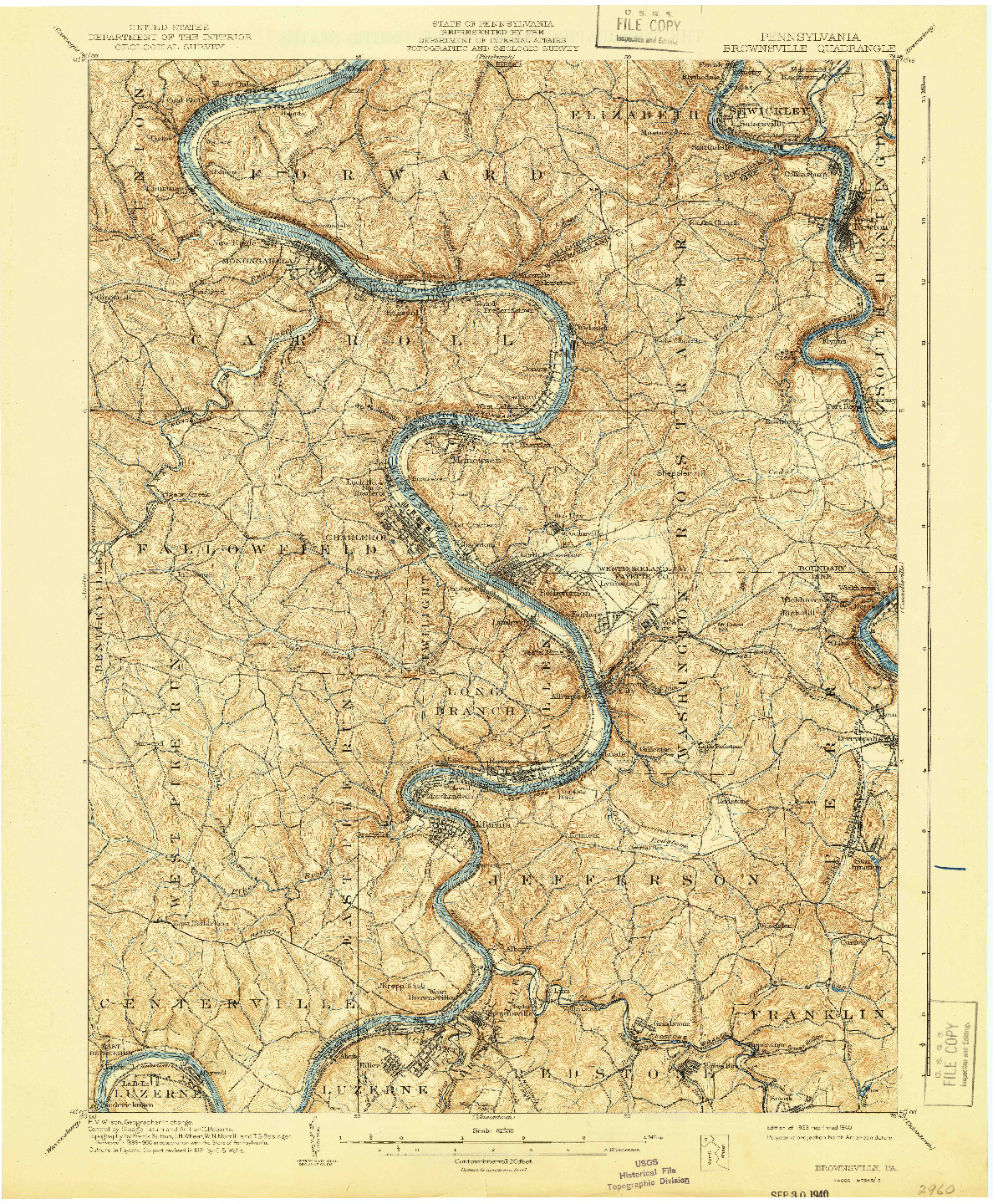 USGS 1:62500-SCALE QUADRANGLE FOR BROWNSVILLE, PA 1940