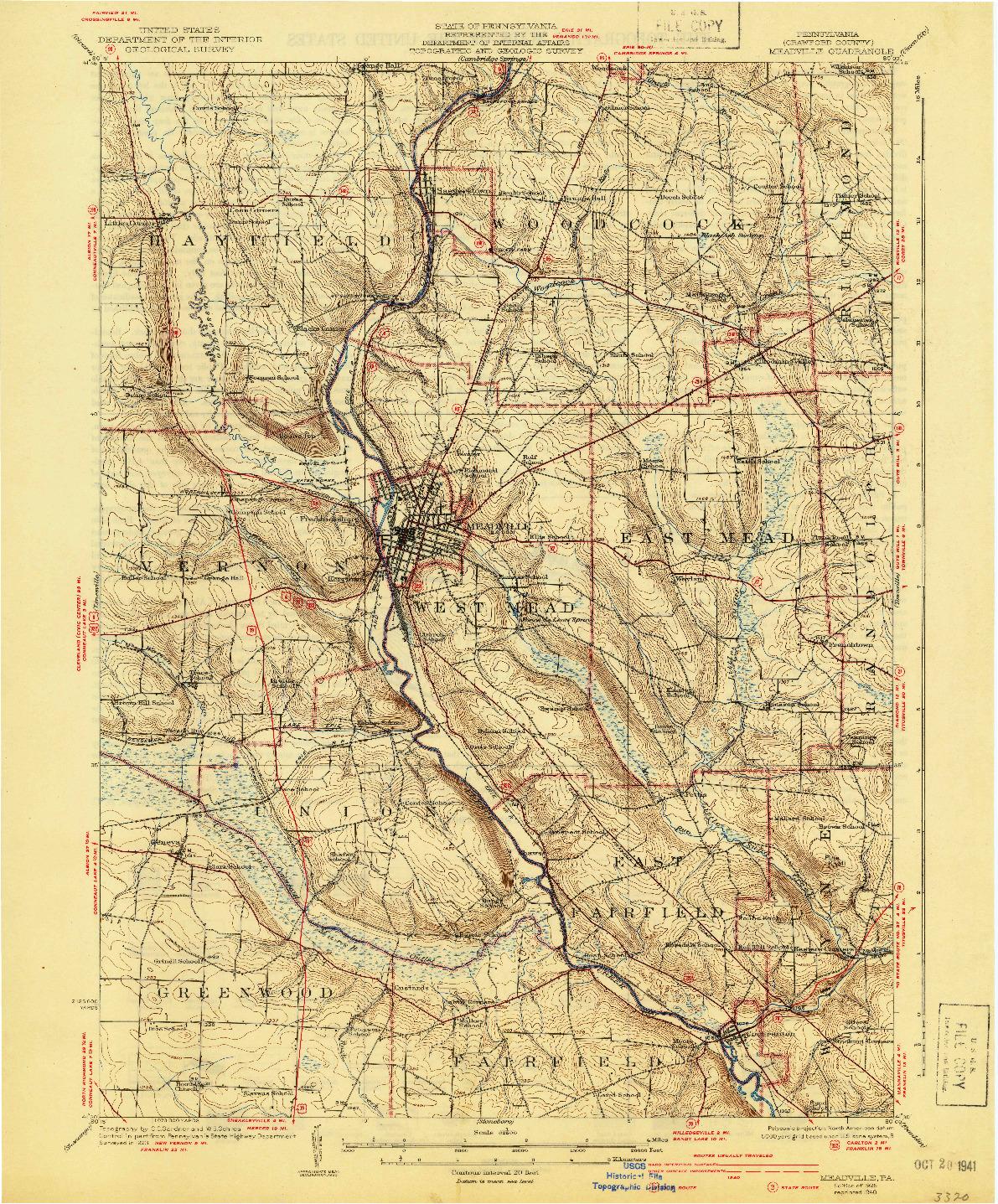 USGS 1:62500-SCALE QUADRANGLE FOR MEADVILLE, PA 1925