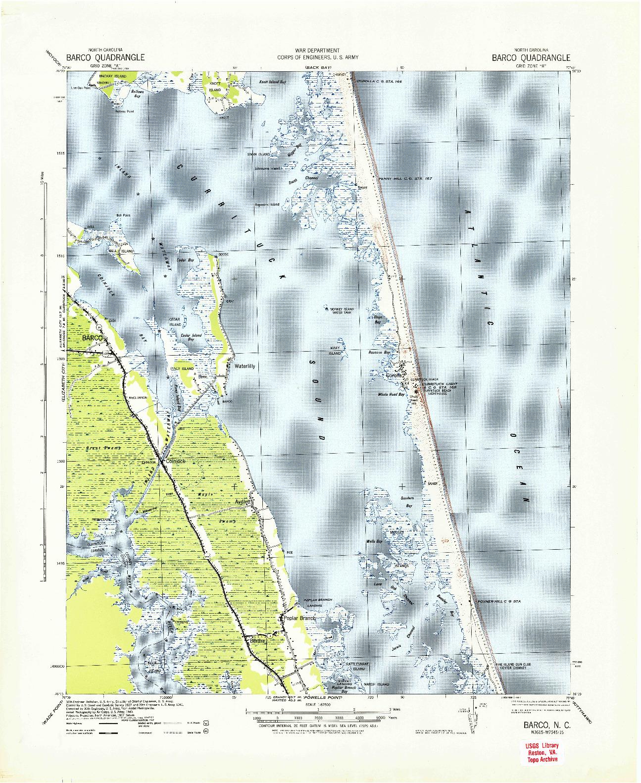 USGS 1:62500-SCALE QUADRANGLE FOR BARCO, NC 1940