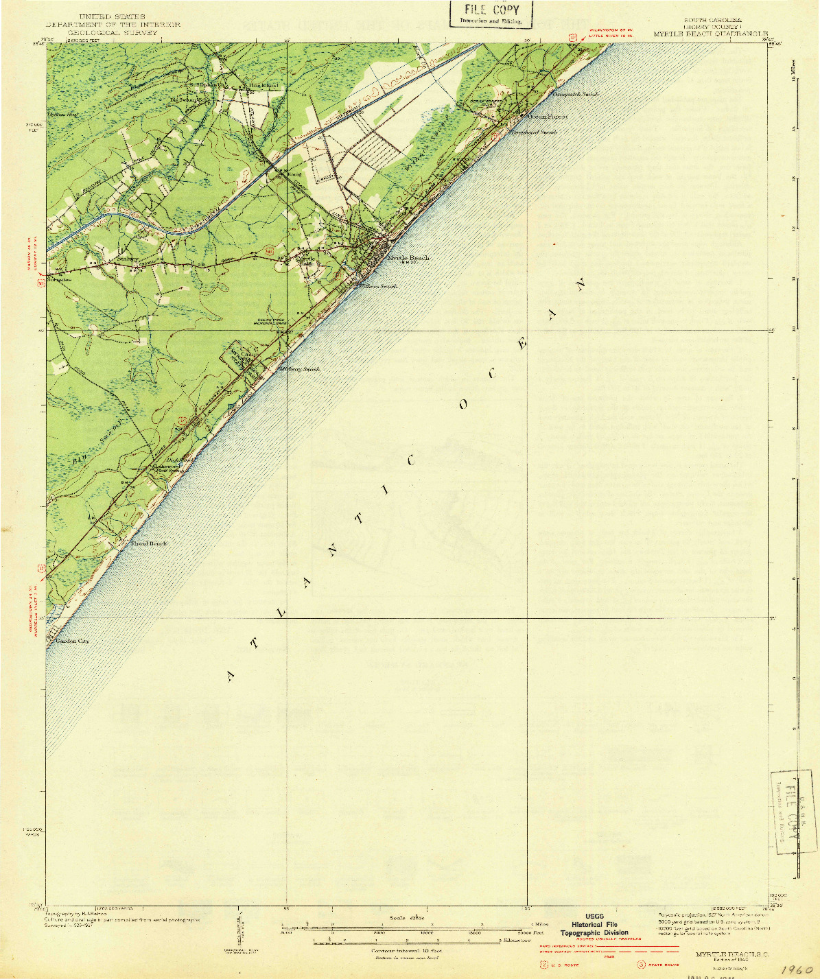 USGS 1:62500-SCALE QUADRANGLE FOR MYRTLE BEACH, SC 1940