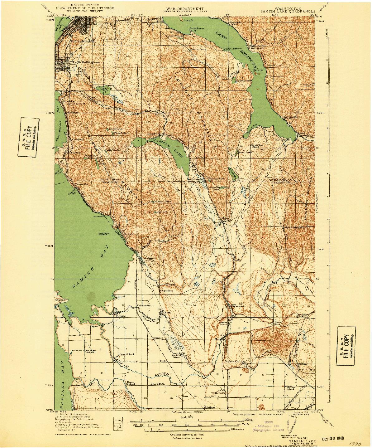 USGS 1:62500-SCALE QUADRANGLE FOR SAMISH LAKE, WA 1918
