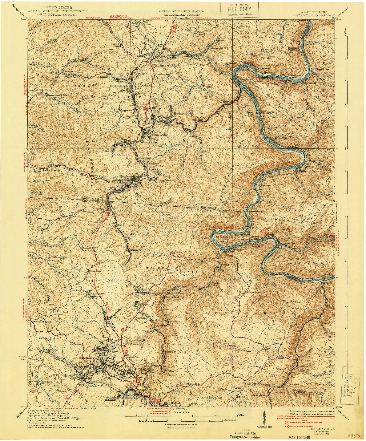 USGS 1:62500-SCALE QUADRANGLE FOR BECKLEY, WV 1932