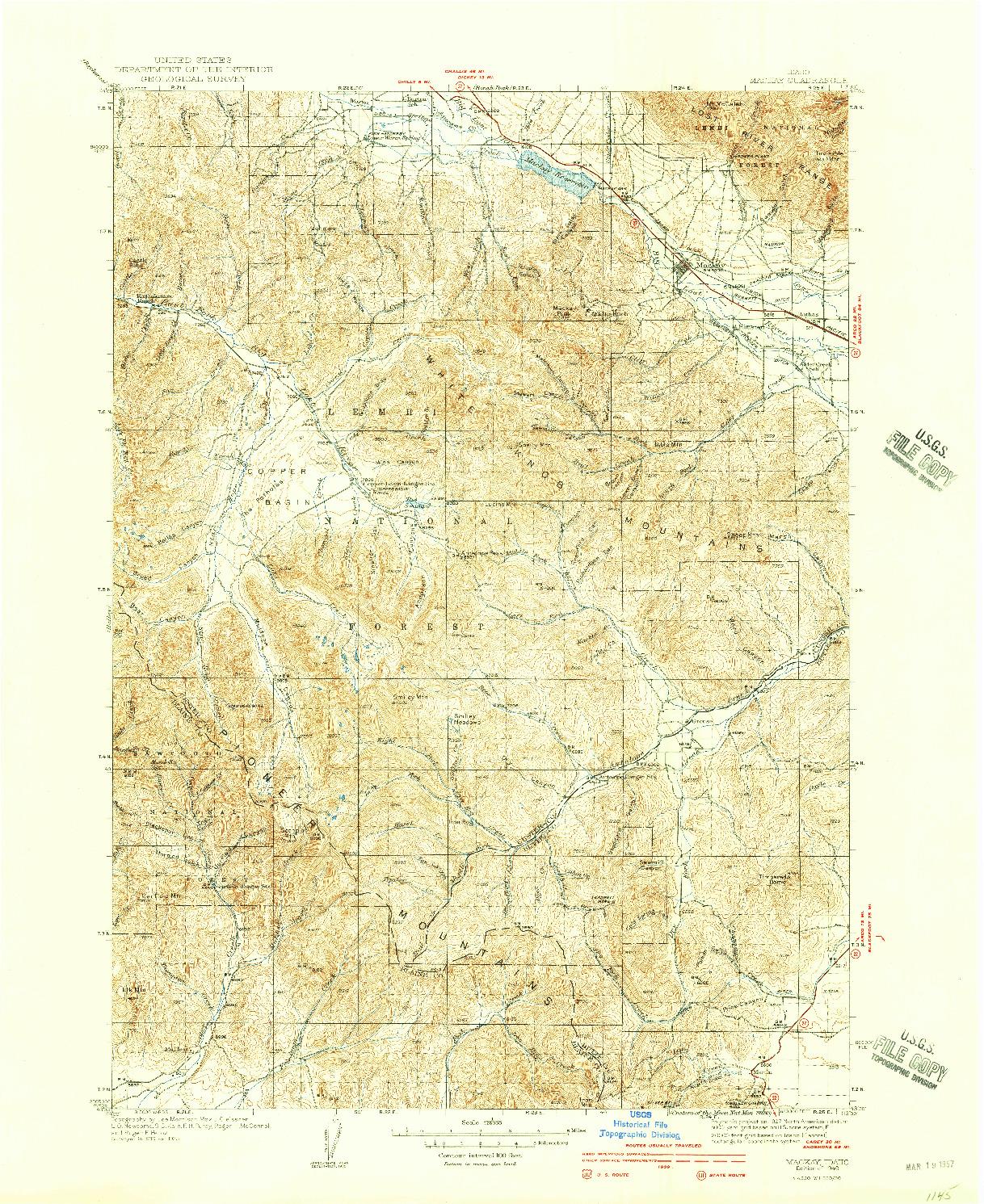 USGS 1:62500-SCALE QUADRANGLE FOR MACKAY, ID 1940