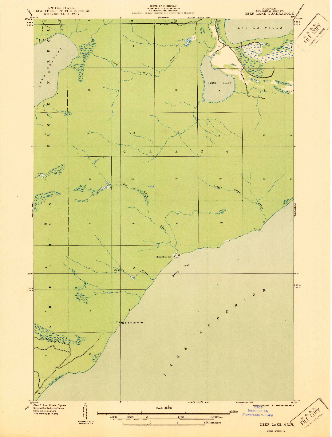 USGS 1:31680-SCALE QUADRANGLE FOR DEER LAKE, MI 1940